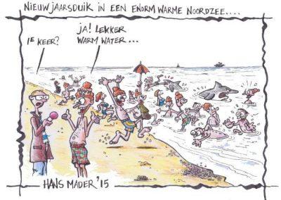 Cartoon door Hans Mader over de nieuwjaarsduik