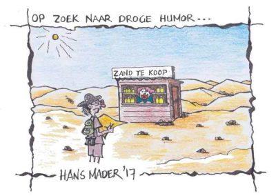 Cartoon door Hans Mader op zoek naar droge humor