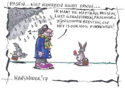Cartoon door Hans Mader over Paashazen