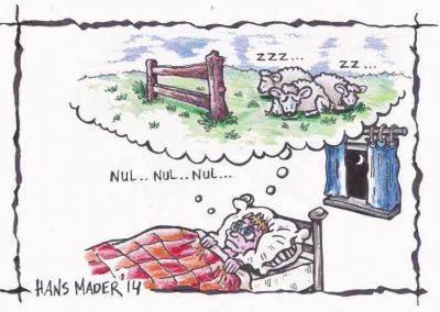 Cartoon door Hans Mader schaapjes tellen